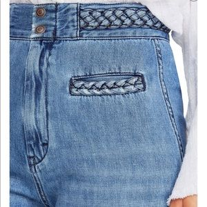 Free people high rise flared braided jeans sun